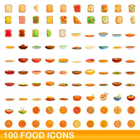 100 food icons set. Cartoon illustration of 100 food icons vector set isolated on white background Illustration