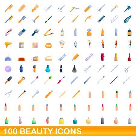 100 beauty icons set. Cartoon illustration of 100 beauty icons vector set isolated on white background Vektorgrafik