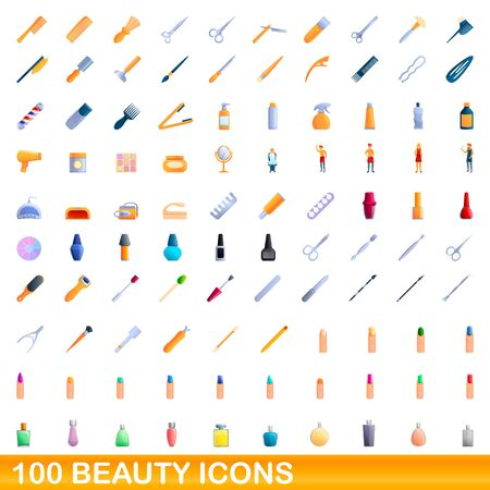 100 beauty icons set. Cartoon illustration of 100 beauty icons vector set isolated on white background