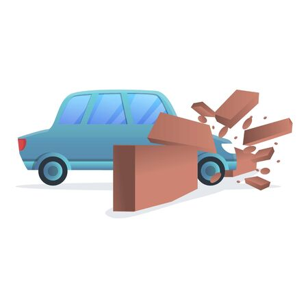 Car wall accident icon. Cartoon of car wall accident vector icon for web design isolated on white background Vettoriali
