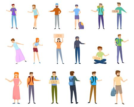 Hitchhiking icons set. Cartoon set of hitchhiking vector icons for web design