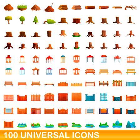 100 universal icons set. Cartoon illustration of 100 universal icons set isolated on white background Illustration