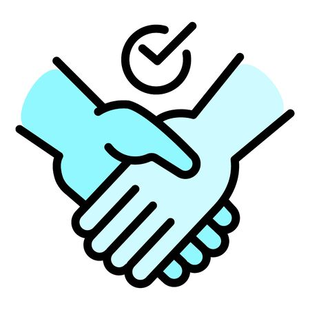 Friendship handshake icon. Outline friendship handshake  icon for web design isolated on white background