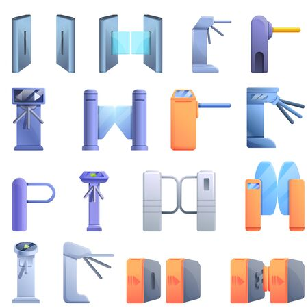 Turnstile icons set. Cartoon set of turnstile icons for web design