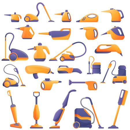 Steam cleaner icons set. Cartoon set of steam cleaner icons for web design Vecteurs