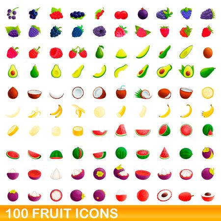 100 fruit icons set. Cartoon illustration of 100 fruit icons vector set isolated on white background Illusztráció