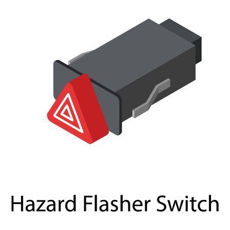 Hazard flasher switch icon. Isometric of hazard flasher switch vector icon for web design isolated on white background