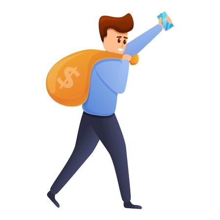 Man carry money bag icon. Cartoon of man carry money bag vector icon for web design isolated on white background