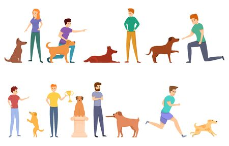 Dog handler icons set. Cartoon set of dog handler icons for web design