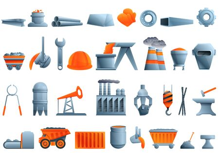 Metallurgy icons set. Cartoon set of metallurgy vector icons for web design