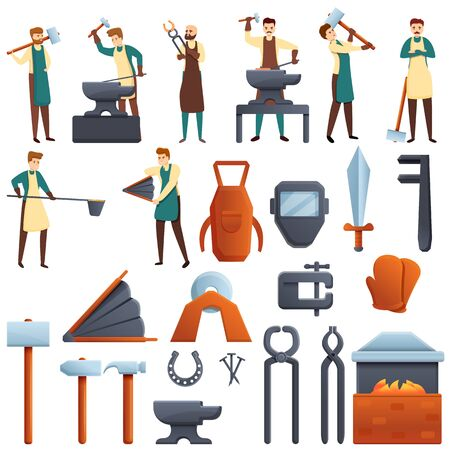 Blacksmith icons set. Cartoon set of blacksmith icons for web design