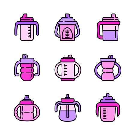 Sippy cup icons set. Outline set of sippy cup vector icons for web design isolated on white background