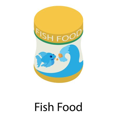 Fish food box icon. Isometric of fish food box vector icon for web design isolated on white background