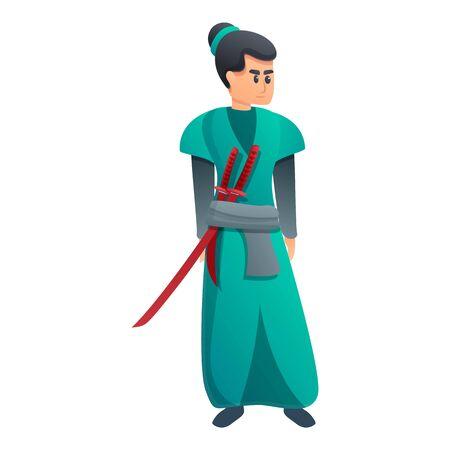 Green clothes samurai icon. Cartoon of green clothes samurai vector icon for web design isolated on white background Illustration