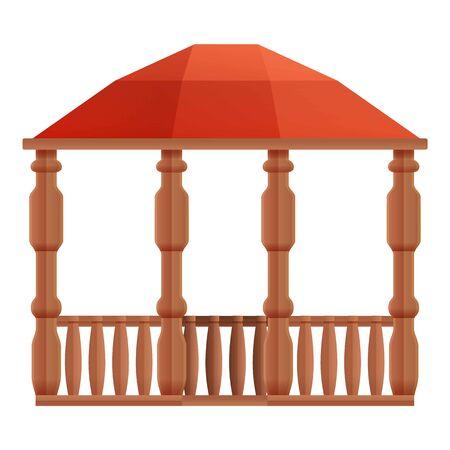 Architecture wood gazebo icon. Cartoon of architecture wood gazebo vector icon for web design isolated on white background Illustration