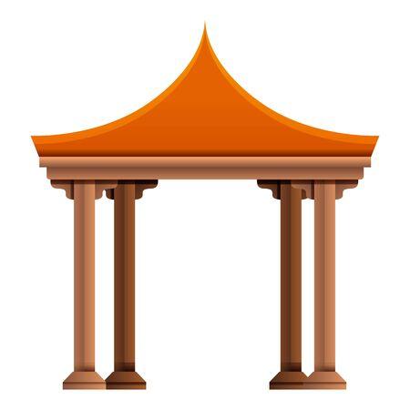 Asian gazebo icon. Cartoon of asian gazebo vector icon for web design isolated on white background Ilustración de vector