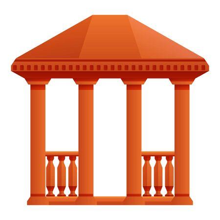 Wood gazebo icon. Cartoon of wood gazebo vector icon for web design isolated on white background