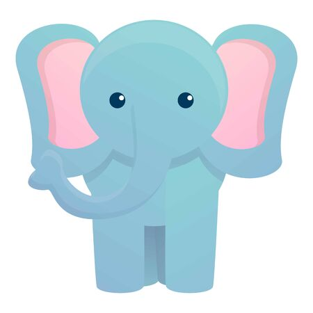 Front view elephant icon. Cartoon of front view elephant vector icon for web design isolated on white background