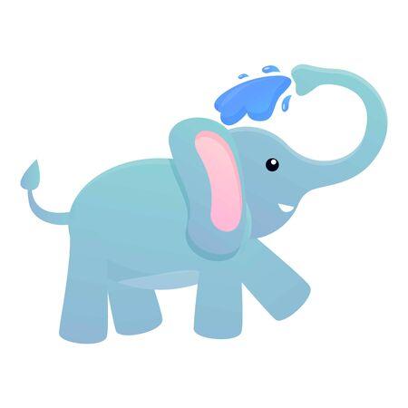Elephant take a bath icon. Cartoon of elephant take a bath vector icon for web design isolated on white background Illustration