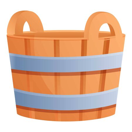 Steel wood bucket icon. Cartoon of steel wood bucket vector icon for web design isolated on white background