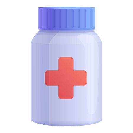 Pill jar first aid kit icon. Cartoon of pill jar first aid kit vector icon for web design isolated on white background