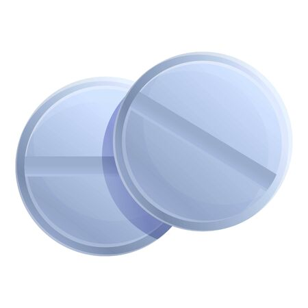 Round pills icon. Cartoon of round pills vector icon for web design isolated on white background