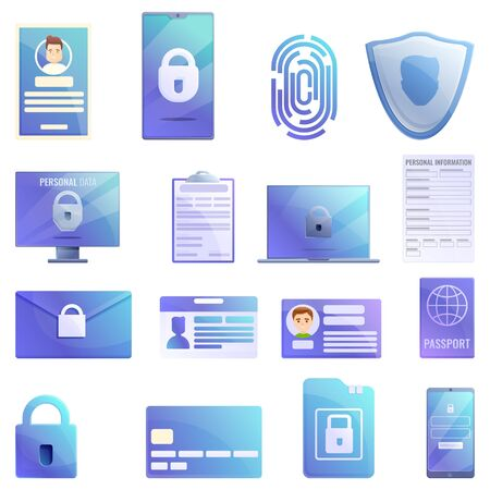 Personal information icons set. Cartoon set of personal information vector icons for web design