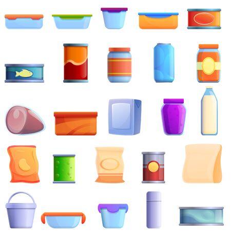 Food storage icons set. Cartoon set of food storage vector icons for web design Ilustrace