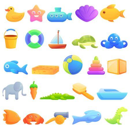 Bath toys icons set. Cartoon set of bath toys vector icons for web design