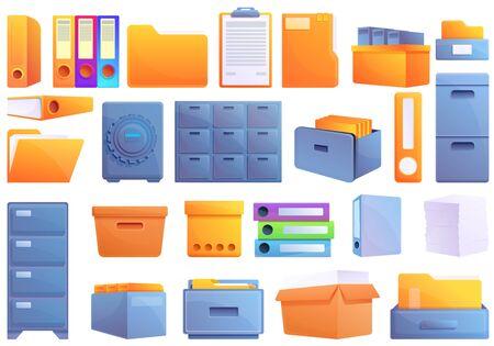 Storage of documents icons set. Cartoon set of storage of documents vector icons for web design