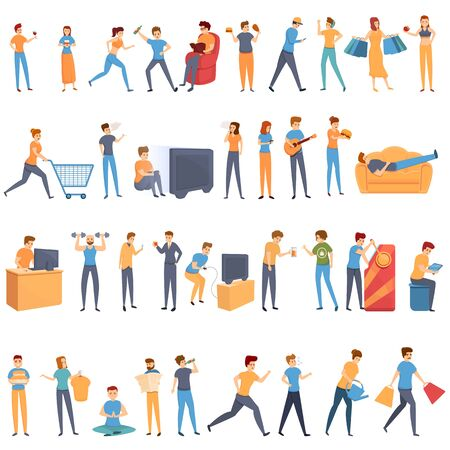 Habit icons set. Cartoon set of habit vector icons for web design Ilustrace