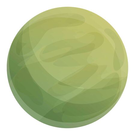 Green space planet icon. Cartoon of green space planet vector icon for web design isolated on white background