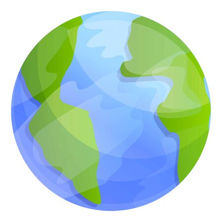 Earth planet icon. Cartoon of earth planet vector icon for web design isolated on white background Ilustrace