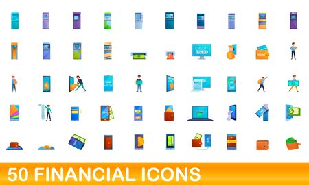 50 financial icons set. Cartoon illustration of 50 financial icons vector set isolated on white background Ilustrace