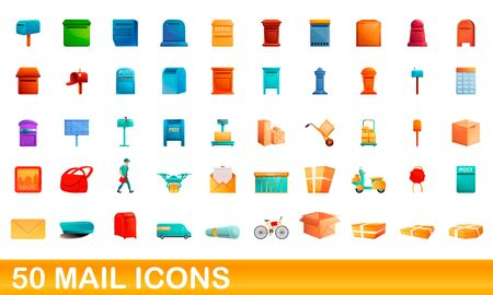 50 mail icons set. Cartoon illustration of 50 mail icons vector set isolated on white background Ilustrace