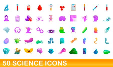 50 science icons set. Cartoon illustration of 50 science icons vector set isolated on white background