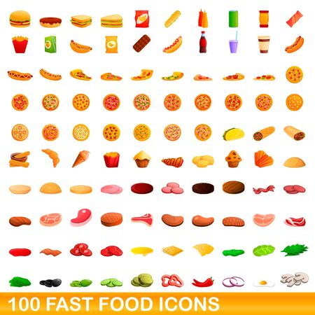 100 fast food icons set. Cartoon illustration of 100 fast food icons vector set isolated on white background