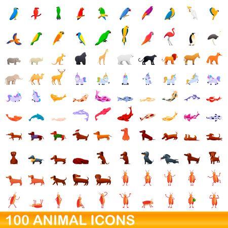 100 animal icons set. Cartoon illustration of 100 animal icons vector set isolated on white background Ilustrace