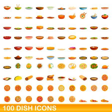 100 dish icons set. Cartoon illustration of 100 dish icons vector set isolated on white background