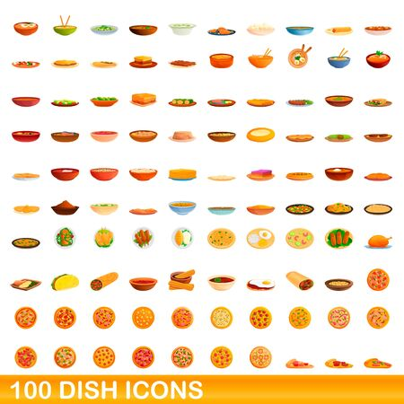 100 dish icons set. Cartoon illustration of 100 dish icons vector set isolated on white background