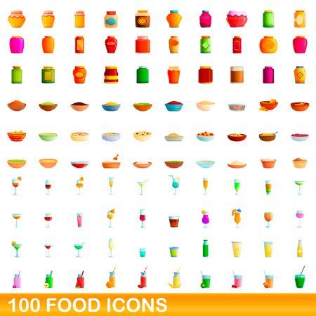 100 food icons set. Cartoon illustration of 100 food icons vector set isolated on white background Ilustrace