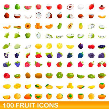 100 fruit icons set. Cartoon illustration of 100 fruit icons vector set isolated on white background Ilustrace
