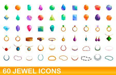 60 jewel icons set. Cartoon illustration of 60 jewel icons vector set isolated on white background