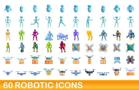 60 robotic icons set. Cartoon illustration of 60 robotic icons vector set isolated on white background Ilustrace