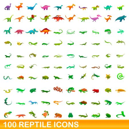 100 reptile icons set. Cartoon illustration of 100 reptile icons vector set isolated on white background