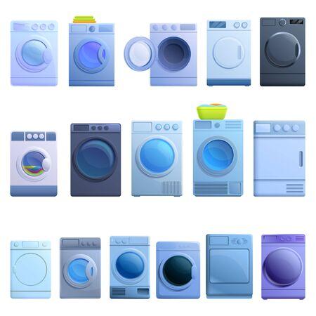 Tumble dryer icons set. Cartoon set of tumble dryer vector icons for web design Vektorgrafik