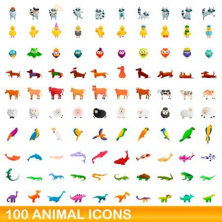 100 animal icons set. Cartoon illustration of 100 animal icons vector set isolated on white background Иллюстрация