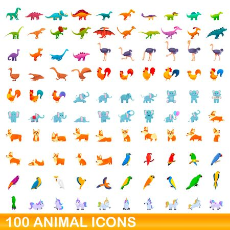 100 animal icons set. Cartoon illustration of 100 animal icons vector set isolated on white background Illusztráció
