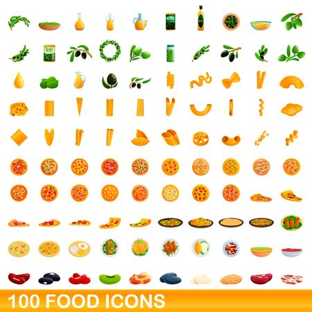 100 food icons set. Cartoon illustration of 100 food icons vector set isolated on white background Illusztráció