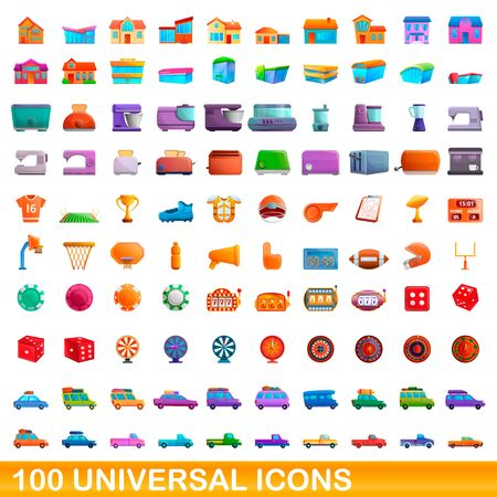 100 universal icons set. Cartoon illustration of 100 universal icons vector set isolated on white background